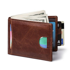 RFID Brown Leather Men's Small Wallet Short Wallet Black Front Pocket Wallet For Men