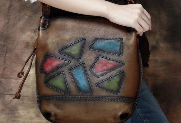 Handmade Leather crossbody purse shoulder bag for women leather messenger bag