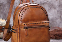 Genuine handmade Leather backpack bag rivet shoulder bag black mens women leather purse