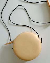 Cute Leather Beige Womens Small Round Crossbody Purse Circle Shoulder Bag for Women
