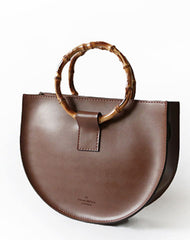 Stylish Leather Brown Womens Saddle Handbag Purse Saddle Shoulder Bag for Women