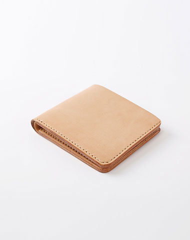 Handmade Leather Minimalist Womens Mens Bifold Small Wallets Short Wallet for Men