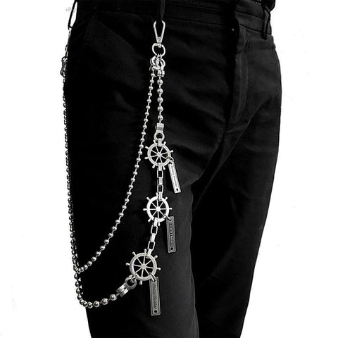 31'' Metal BIKER SILVER WALLET CHAIN Beaded LONG PANTS CHAIN ANCHOR jeans chain jean chainS FOR MEN