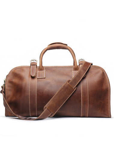 Vintage Leather Mens Weekender Bag Travel Bag Duffle Bag