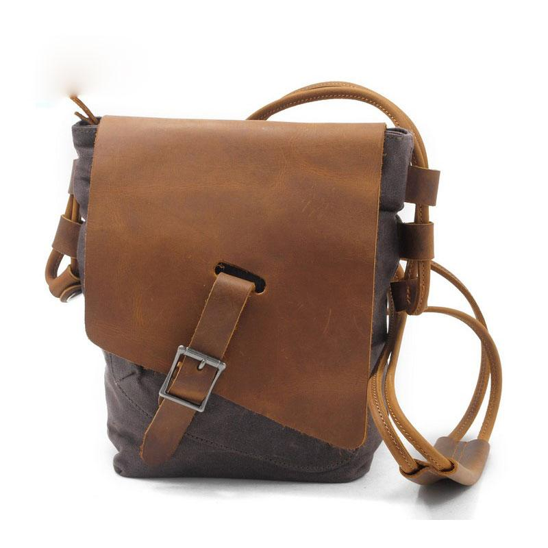 f479568130 Cool Mens Waxed Canvas Leather Small Courier Bags Canvas Side Bags  Messenger Bag for Men