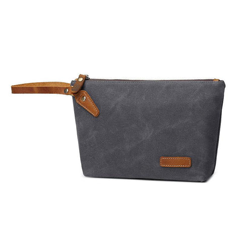 Cool Canvas Leather Mens Wristlet Bag Vintage Clutch Zipper Bag for Men