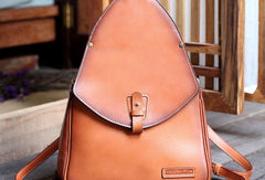 Handmade Leather backpack bag shoulder bag camel orange women leather purse