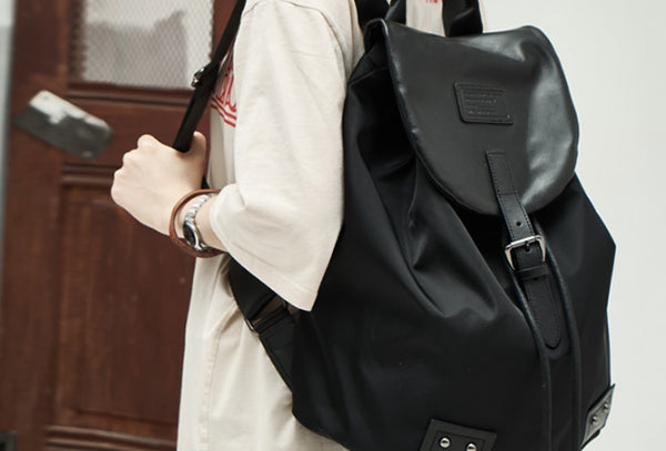 Genuine Leather Cute Travel Bag Backpack Bag Shoulder Bag Black Women Leather Purse