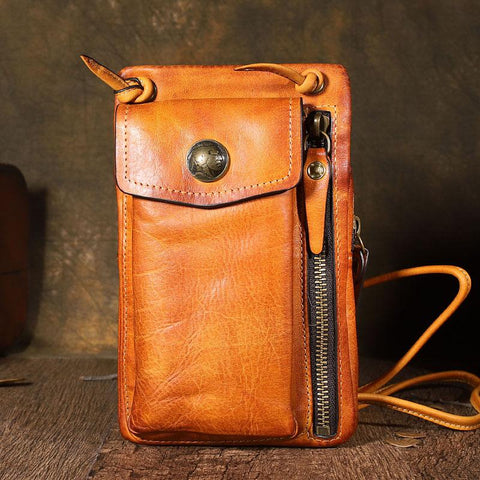 Handmade Leather Mens Brown MIni Messenger Bag Side Bag Courier Bag Postman Phone Bag for men