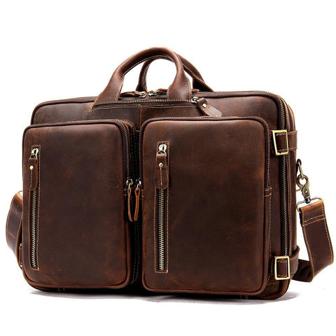 Classy Leather Men's Briefcase Travel Bag Messenger Bag Shoulder Bags Backpack For Men