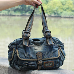 Denim Blue Mens Womens Large Shoulder Bag Handbag Blue Jean Messenger Bag For Men