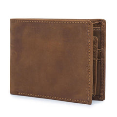 Vintage Leather Mens Slim Small Wallet Short Bifold Wallet Front Pocket Wallet Driving License Wallet for Men