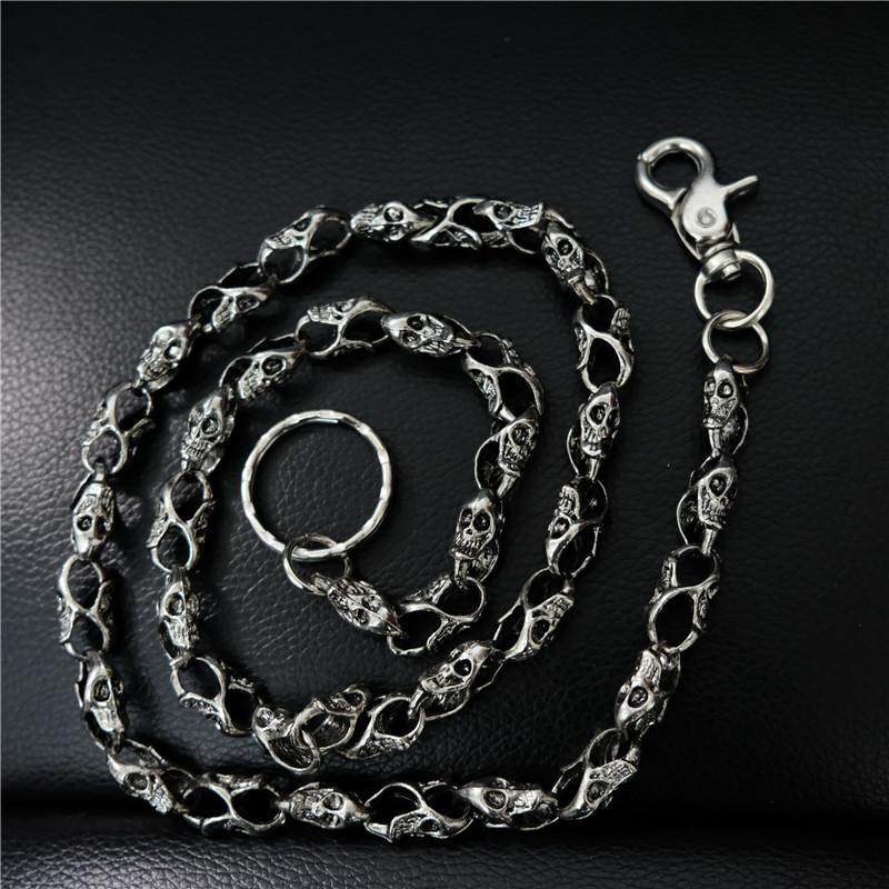 Badass Men's Silver Skull Long Punk Pants Chain Biker Wallet Chain For Men