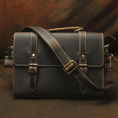 Vintage Mens Leather 13inch Laptop Briefcase Bag Business Bag Shoulder Bags For Men