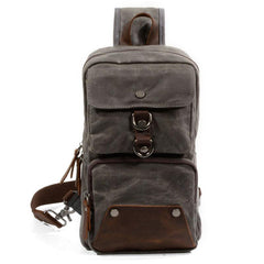 Cool Waxed Canvas Leather Mens Chest Bag Sling Bag One Shoulder Packs for men