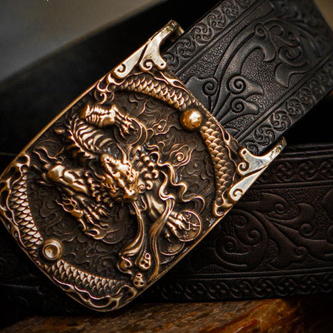 Handmade Black Leather Cool Mens Belt Custom Leather Men Belt for Men