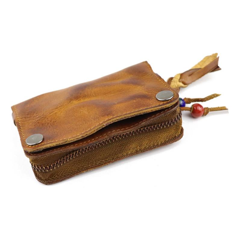Vintage Leather Men's Short Small Wallet Brown Key Wallet Card Wallet For Men