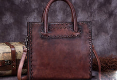 Genuine Leather Handbag Vintage Handmade Shoulder Bag Crossbody Bag Purse For Women