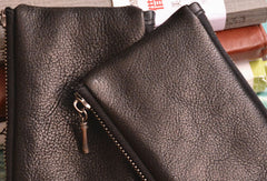 Handmade Genuine Leather Slim Zip Wallet Short Wallet Coin Purse Bag For Mens