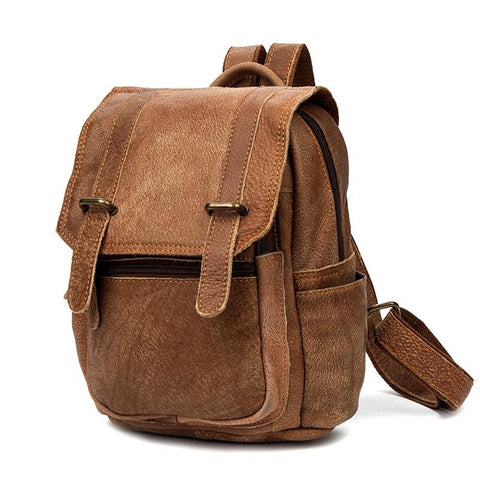 Brown Fashion Womens Leather 12-inch Small Computer Backpacks Laptop Backpacks School Backpack for Women