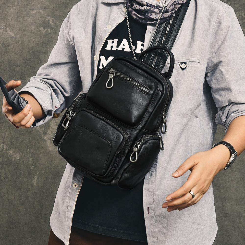 "Cool Leather Mens 8"" Black Backpack Sling Bag Chest Bag One Shoulder Backpack for Men"
