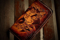 Handmade leather prajn¡§? biker wallet clutch zip long wallet brown leather men phone