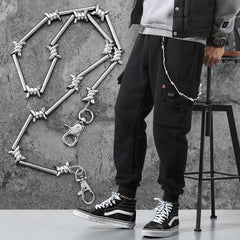 Cool Men's Rock Puck Long Stainless Steel Pants Chain Biker Wallet Chain For Men