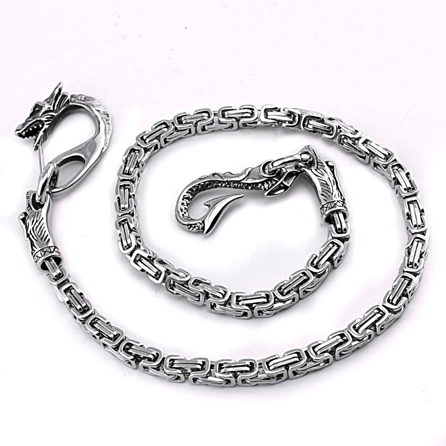 Cool Silver Dragon Stainless Steel Wallet CHain Long Biker Wallet CHain jeans chain jean chain For Men