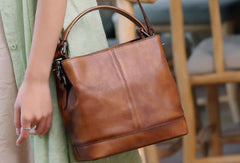Genuine Leather Handbag Bucket Bag Crossbody Bag Shoulder Bag Purse For Women