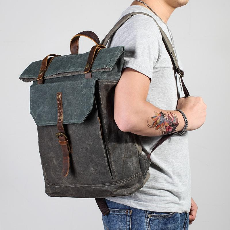 Casual Waxed Canvas Green Men's Travel School Backpack Laptop Backpack For Men