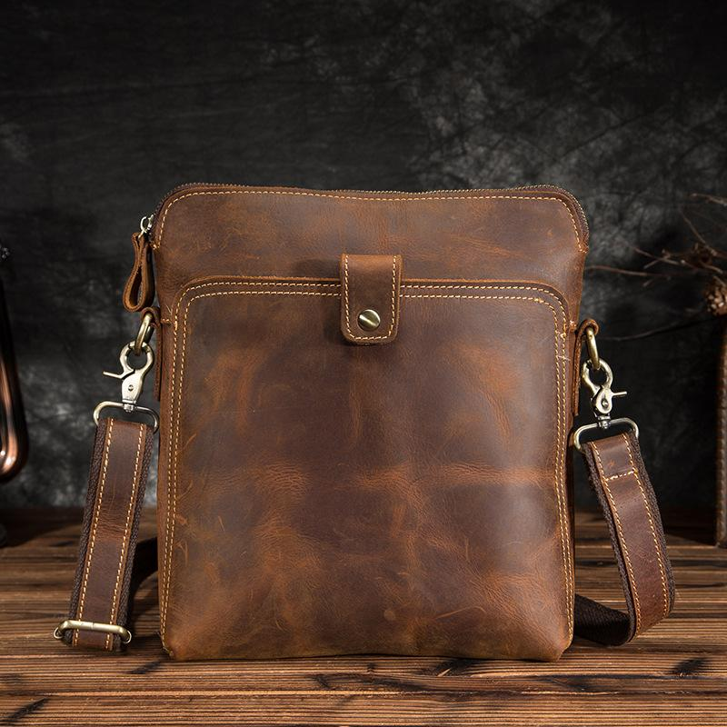 Vintage Brown Leather Men's Small Vertical Messenger Bag Side Bags Courier Bag For Men