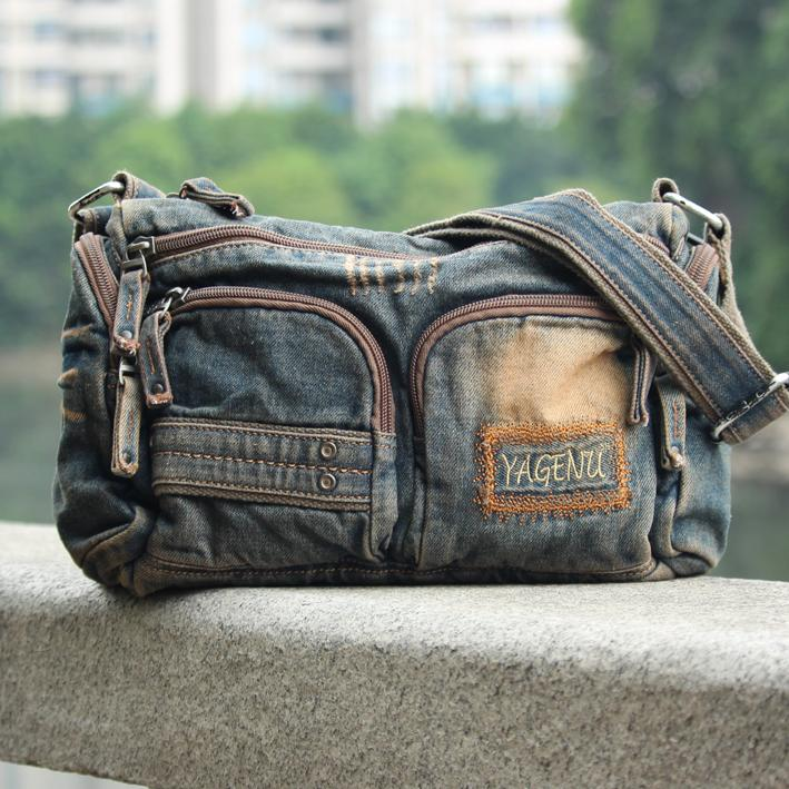 Blue Denim Mens Womens Side Bag Courier Bag Blue Jean Shoulder Bag Messenger Bag For Women