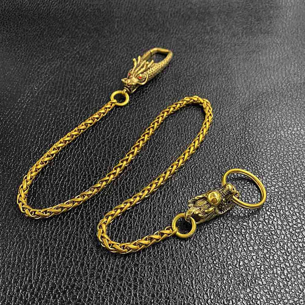 "Cool Brass 18"" Mens Chinese Dragon Key Chain Pants Chain Wallet Chain Motorcycle Wallet Chain for Men"