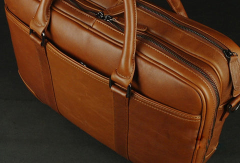 Large leather men Briefcase large vintage shoulder laptop Briefcase Travel Briefcase