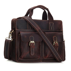 Vintage Mens Leather 14inch Laptop Briefcase Handbag Work Bag Business Bag Shoulder Bag For Men