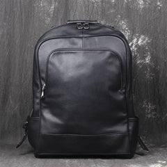 Black Leather Mens 14inch Laptop Backpack Backpacks School Backpack Travel Backpack for Men