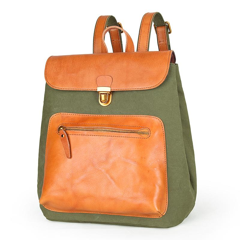 Canvas Leather Mens Women Student Backpack Army Green Travel Backpack Caramel College Backpack for Men