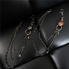 Cool Men's Silver Star Triple Pants Leather Head Chain Punk Wallet Chain For Men