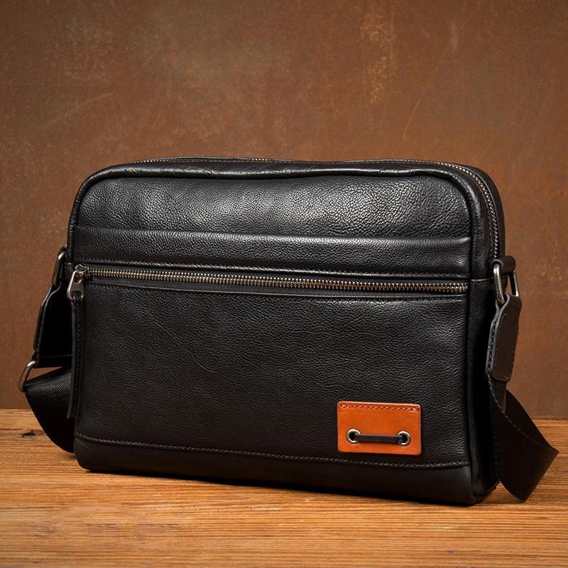 Fashion Black Mens Leather 10 inches Mens Small Messenger Bag Brown Courier Bag Postman Bag for Men