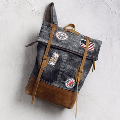 Cool Canvas Leather Gray Travel Bag Mens Backpack Canvas Canvas School Bag for Men