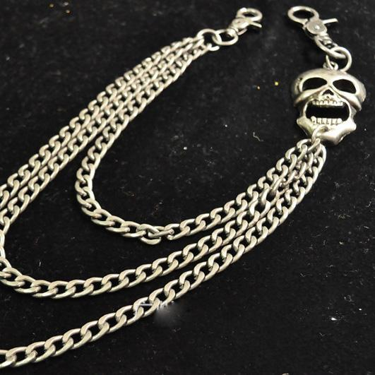 Cool Men's Silver Triple Skull Pants Chain Long Punk Skull Wallet Chain For Men