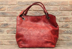 Handmade Leather Handbag Vintage Shoulder Bag Tote For Women Leather Shopper Bag