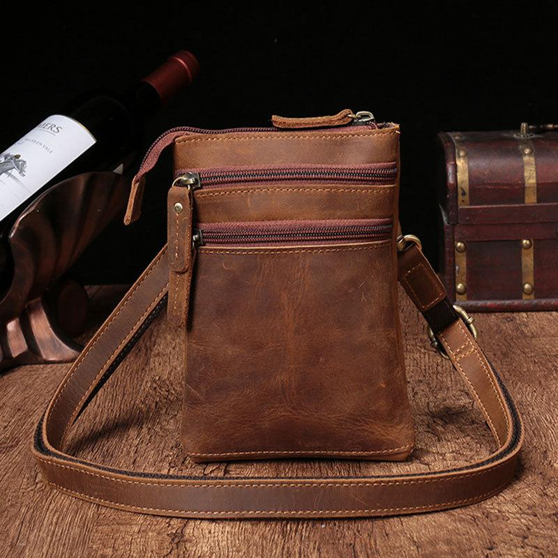 b65c69f879d Vintage Leather Men's CELL PHONE HOLSTER Belt Pouch Waist Small Side Bag  For Men
