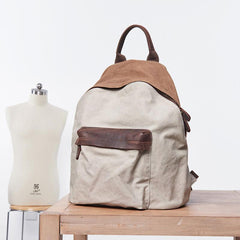 Cool Gray Canvas Travel Bag Mens Backpack Canvas Canvas School Bag for Men