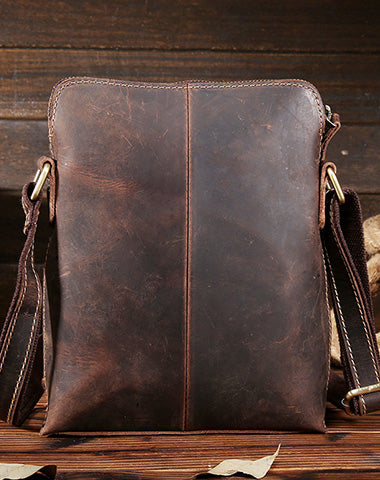 Vintage Leather Small Messenger Bag Shoulder Bag For Men
