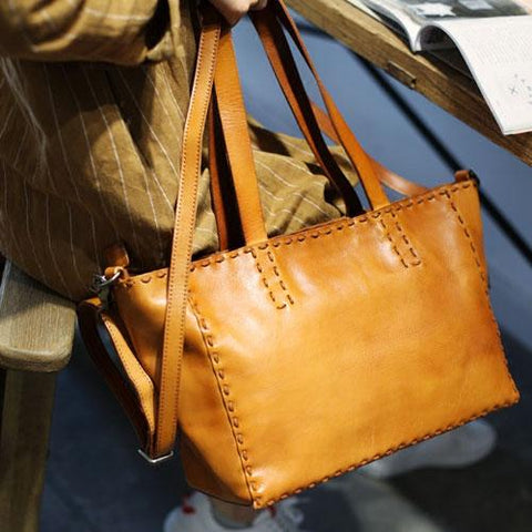Fashion Womens Brown Leather Tote Shoulder Bag Soft Leather Tote Work Handbag for Women