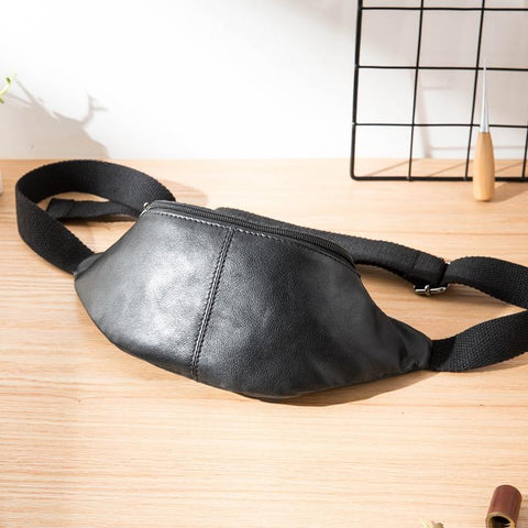 Black Mens Leather Fanny Packs Sling Bag Waist Bag Hip Pack Belt Bag Chest Bag for Men