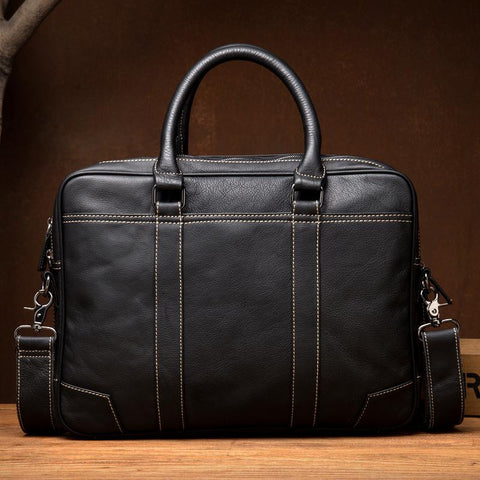 Black Leather Mens 15 inches Briefcase Laptop Side Bag Business Bags Work Bags for Men