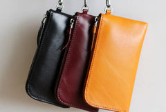 Handmade Genuine leather phone clutch purse long wallet purse clutch women
