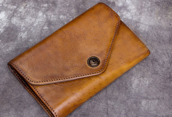 Genuine Leather Wallet Vintage Short Wallet Bifold Wallet Purse For Men Women